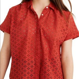 Madewell Eyelet Hilltop Red Cute Blouse